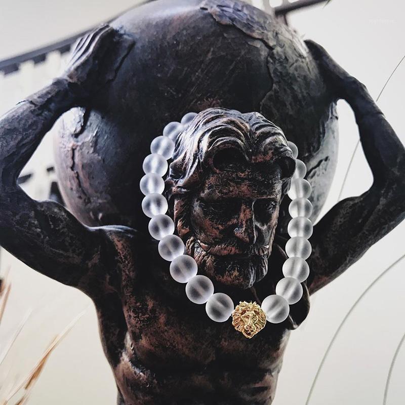 8 ملليمتر شفاف حجر الخرز الأسد سوار الرجال مجوهرات أساور الذهب للنساء اكسسوارات أزياء رجالي جديد وصول 2020 الإسطال