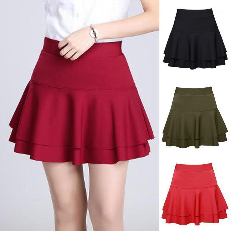 Red Preppy Style Mini falda plisada Mujeres 2020 Verano Casual Escuela Plaid Falda corta Señoras Cintura alta Saia Faldas1