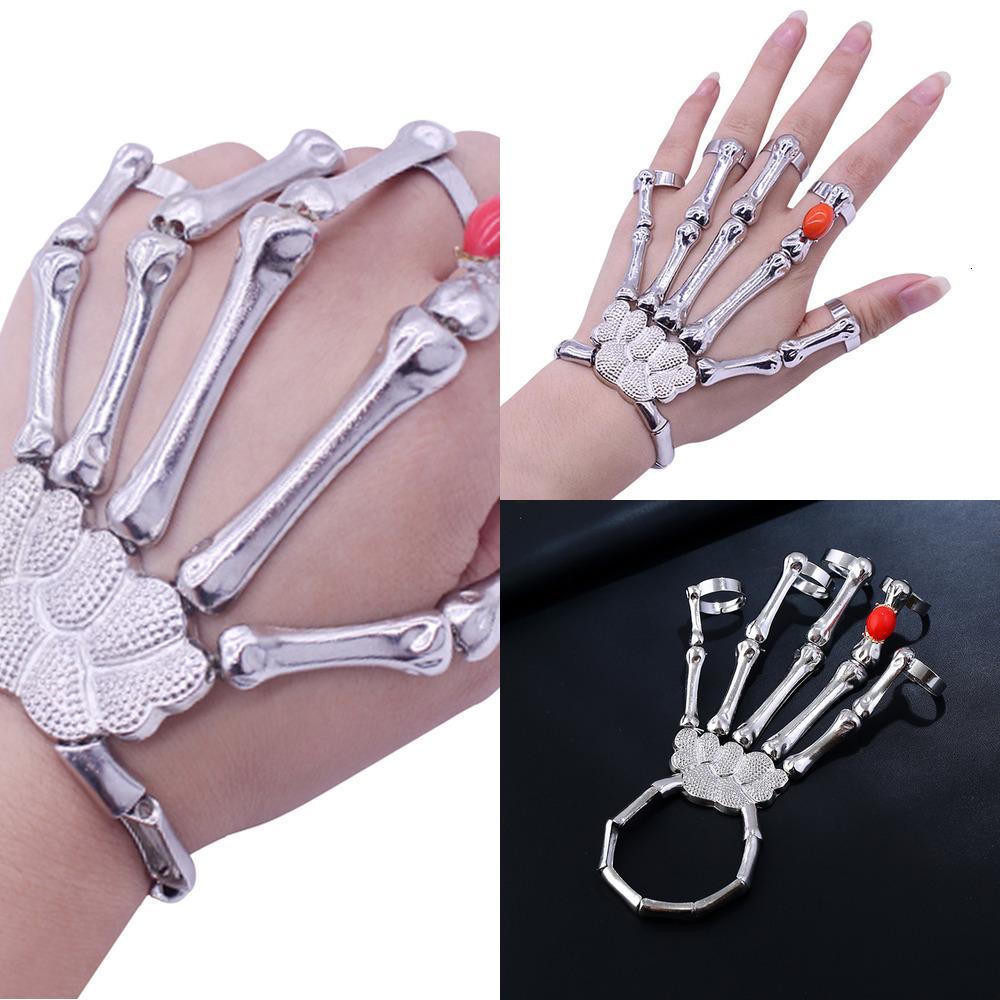 El anillo de dedo punky del club nocturno para las pulseras de la mano de los hombres esqueleto del hueso del cráneo de los brazaletes de Navidad de Halloween Rf6o regalo