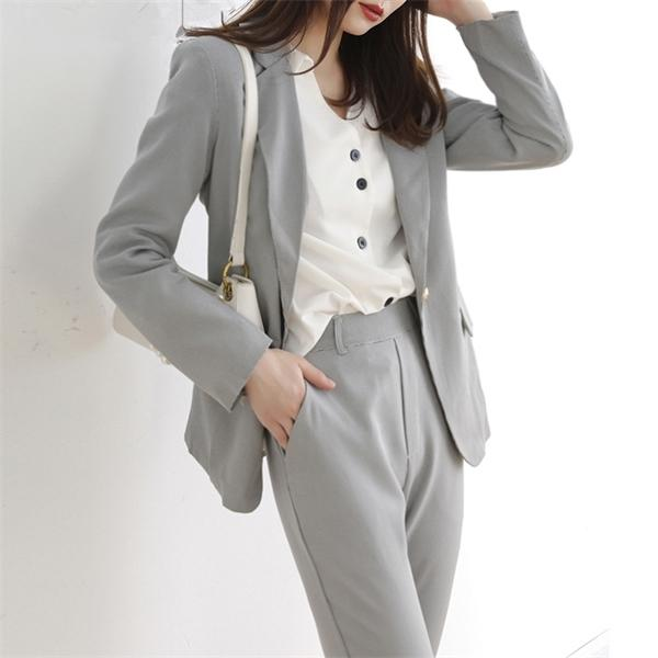 ZAWFL 2020 Autunno a due pezzi pantaloni insiemi Maglia a manica lunga plaid Blazer Ufficio elegante signore tailleur pantalone C1015