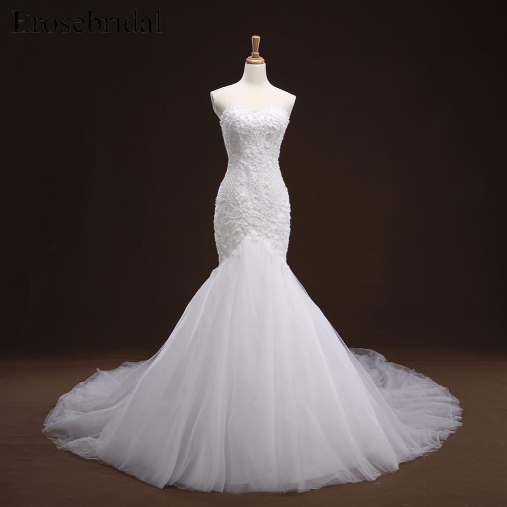Apliques cordón de la sirena Vestido con cola larga rebordear nupcial bata mariee del vestido de boda vestido de Noiva YY105 Q1112