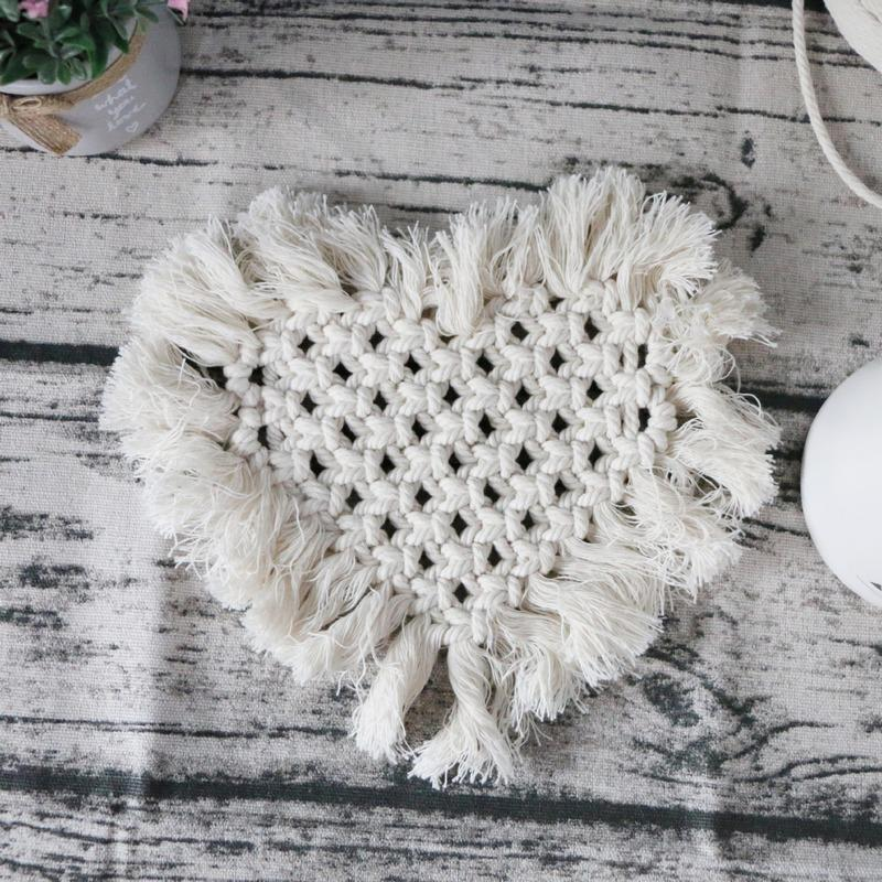 5pcs/lot Cotton Rope Thicken Handmade Woven Insulation Non-slip Coffee Cup Pad Cushion Table Placemat Kitchen Accessories