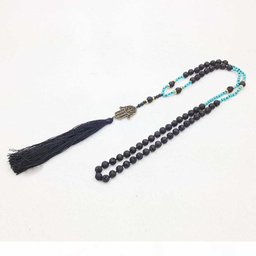 ST0251 Schutzheime Hamsa Hand Mala Halskette Schwarz Lava Steinperlen Quaste Boho Halskette Mode Halsketten 2016