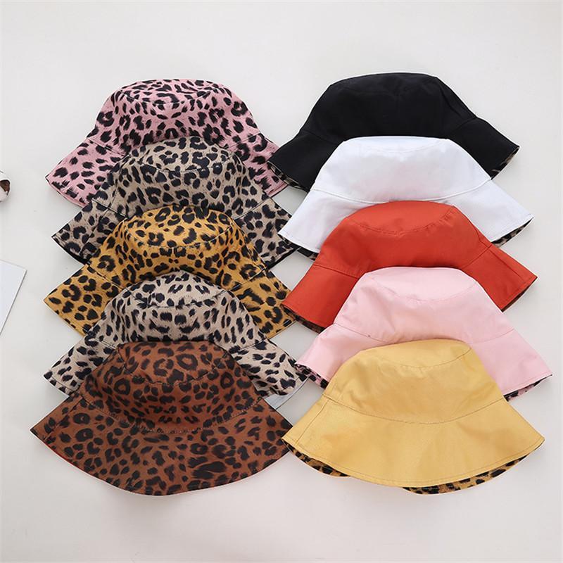 Kenshelley Trendy Leopard Stampa Secchio Cappello Animale Pattern Cotton Protezione UV Protezione Pescatore Cappelli per le donne Cappello da imballaggio reversibile