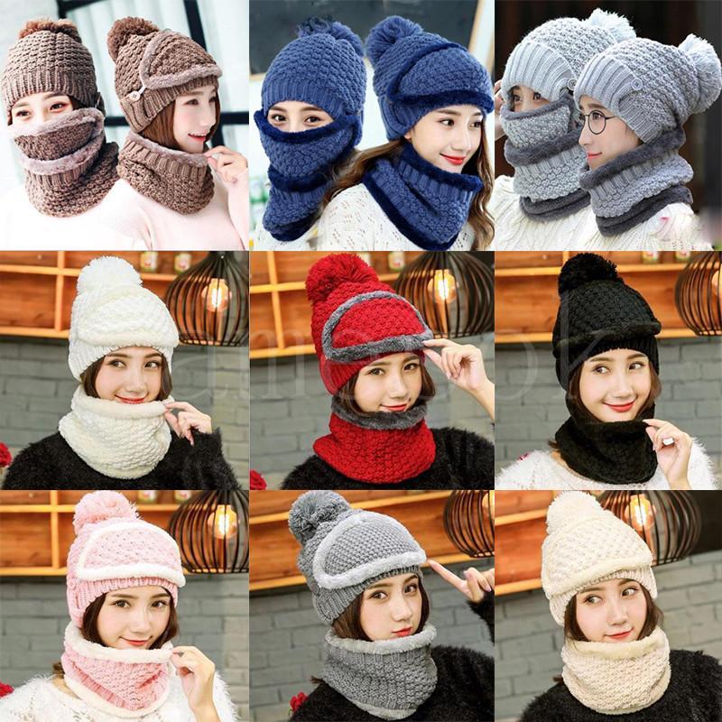 Venda Por Atacado senhoras inverno quente máscara de chapéu de três peças e lenço conjunto inverno de malha máscara quente chapéu e lenço set db192