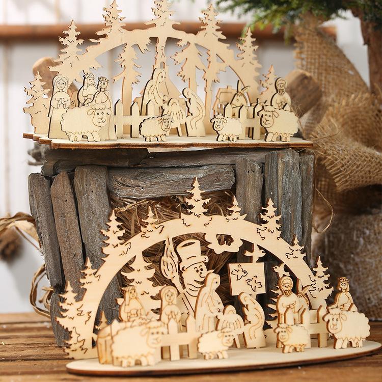 Деревянные Xmas украшения рабочего украшения подарков DIY 3D сращивания Детские игрушки Christmas Party украшения