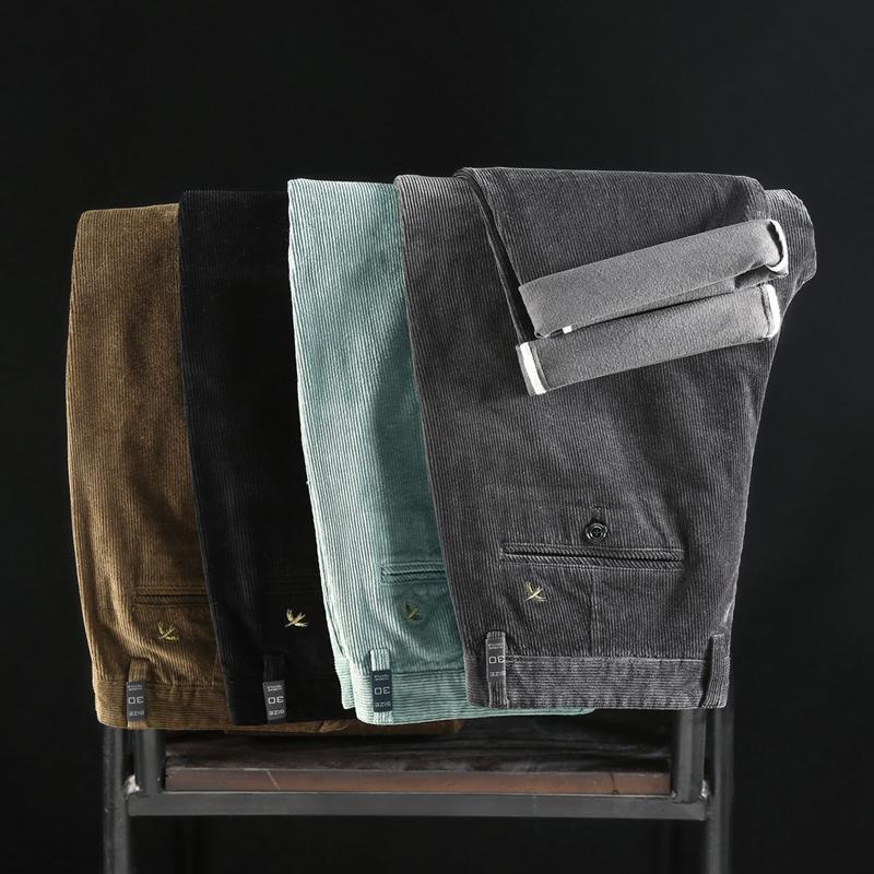 Green Brown Negro Gris Classic Bordado Cordury Pantalones casuales rectos 97% algodón Pantalones de alta calidad en otoño invierno F1225