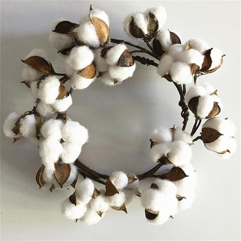 """1pc 10 """"Fleur séchée petite couronne de coton de coton pour la ferme décoration murale primitive de Noël 201128"""