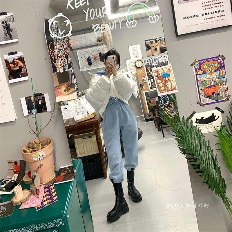 VIPKOREANISE Version von Herbst Winter 2020 neue lose Plüschhose und Pullover zwei stück Freizeit Sportswear Anzug für Frauen Mode