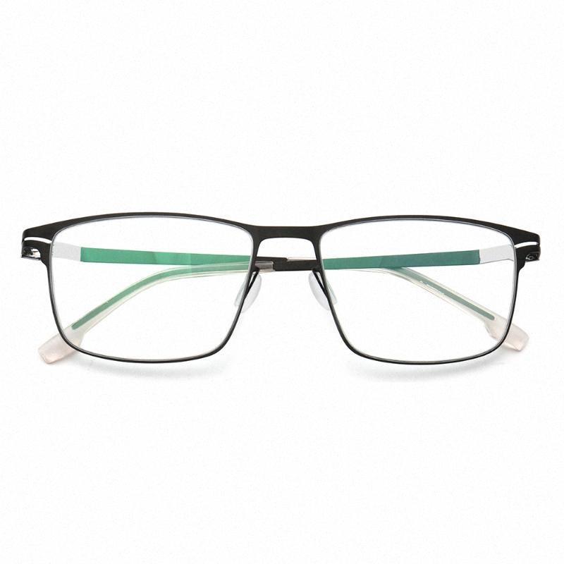 Herren Business Klassische Vollrand Brillen Rahmen für Men-Platz Metallbrillenrahmen Edelstahl Licht Jahrgang Brillen Rahmen fyYm #