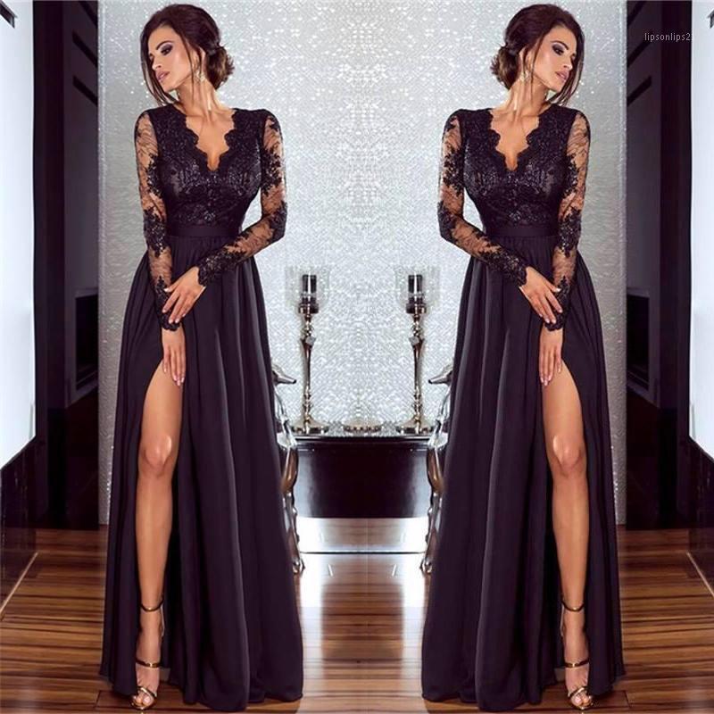 Robes décontractées femmes robe de dentelle noire sexy élégante fête de mariage V cou à manches longues à manches longues Split Soirée Perspective Dress Dress1