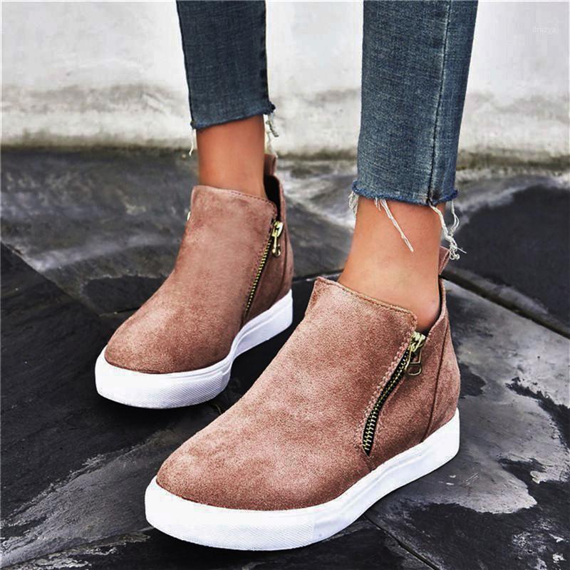 Fashion Women Flat Boots Autumn Winter Zip Platform Ankle Ladies Round Toe Flat Casual Comfort Shoes Female Short Boot1