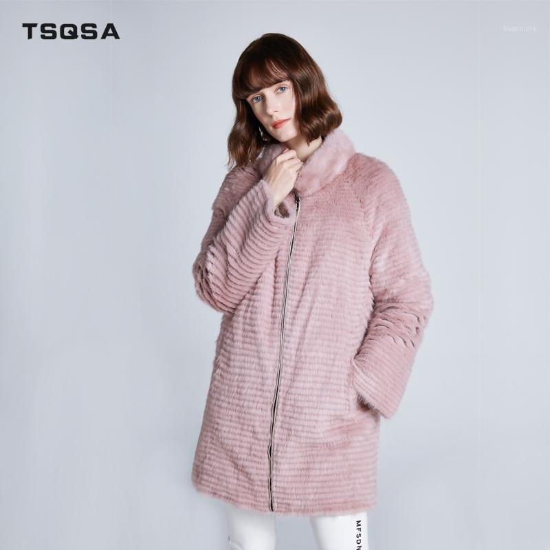 TSQSA 2019 nuevo abrigo de invierno mujer elegante largo abrigo o-cuello femenino jersey sobrecarga de longitud layday tac19501