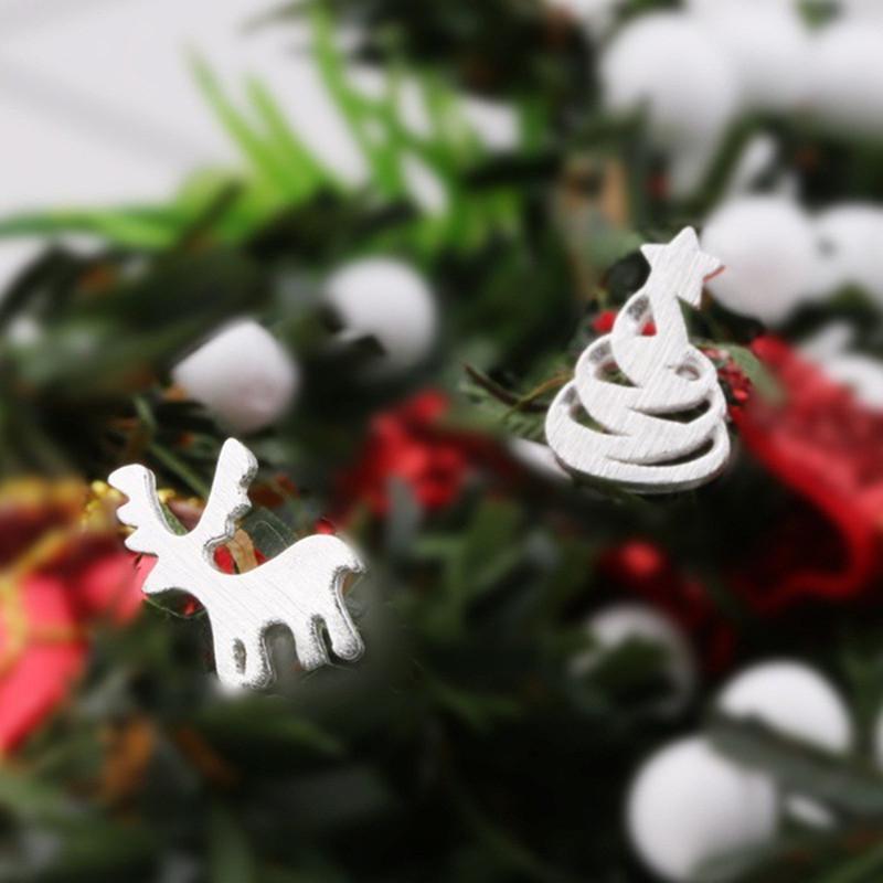 Nuevo cepillo creativo asimétrica regalos de compromiso no cumplidas de los pendientes de árbol de navidad de joyería de las mujeres