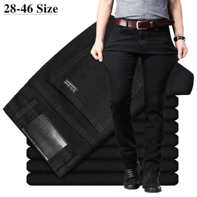 Männer schwarze Jeans elastische Slim Fit Denim-Jean-Hosen Male Plus Größe 40 42 44 46 Business Casual Hosen Marke