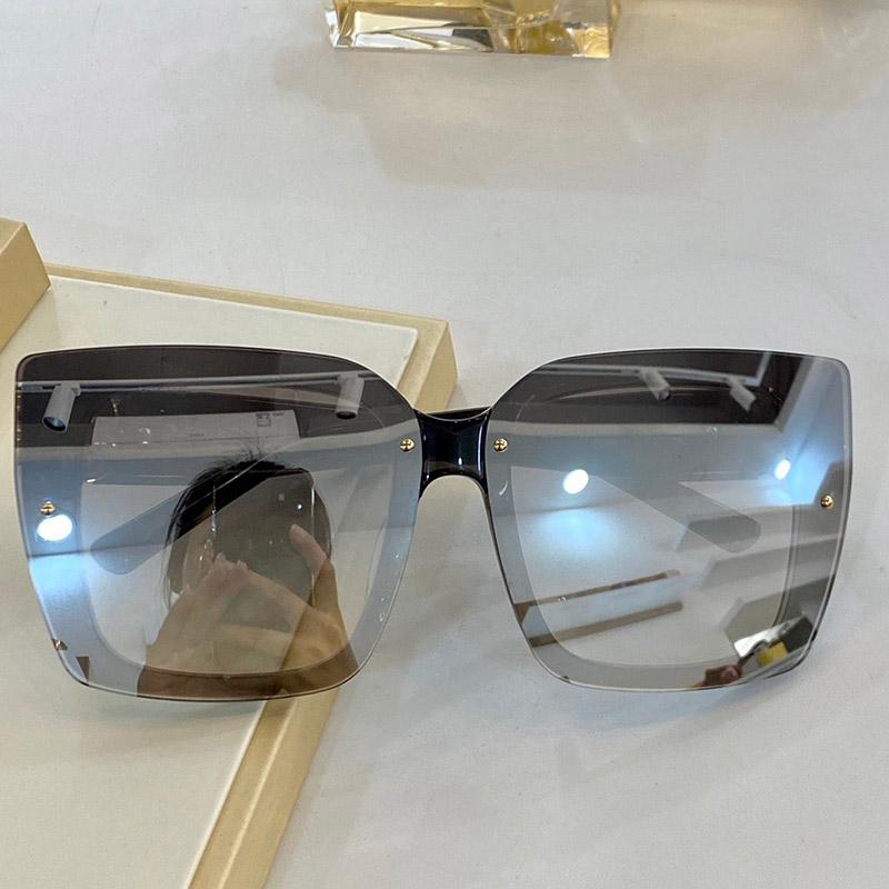 0125 Yeni Moda Güneş Gözlüğü Kadınlar Büyüleyici Kare Moda Gözlük Yüksek Kaliteli Elmas Plaka Görünmez Çerçeve Anti-Uv Güneş Gözlüğü Kutusunda