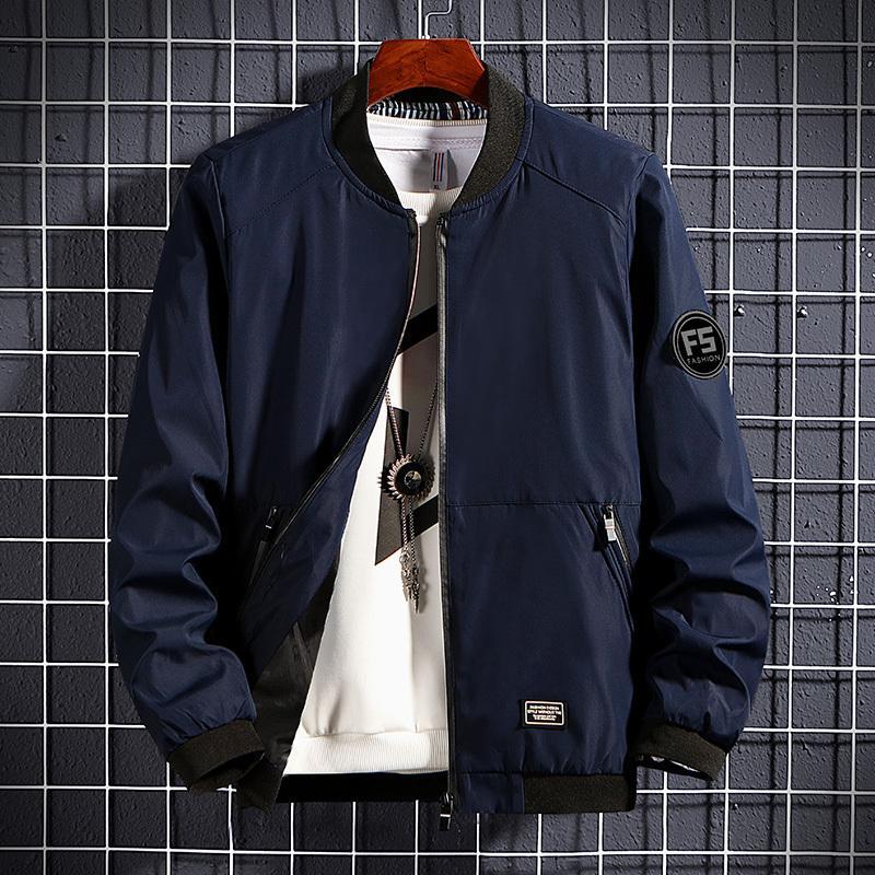 Thoshine Marke Frühling Herbst Männer Jacken Patch Designs Taschen Slim Fit Männliche Baseball Oberbekleidung Jacke Feste Farbe Briefmäntel 201104