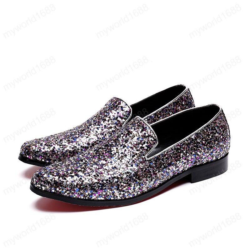 Мужчины Мокасины Кристалл Блестки Плюс Размер Скольжение на мужчин обувь Круглый Toe Ночной клуб партии моды вечернее платье обувь