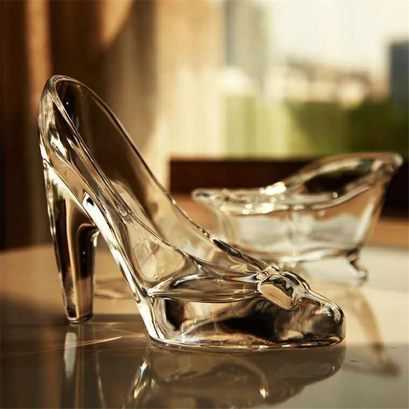 Crystal Shoes Glass Slipper Birthday Gift Home Decor Cinderella High-heeled Shoes Wedding Figurines Miniatures Ornament