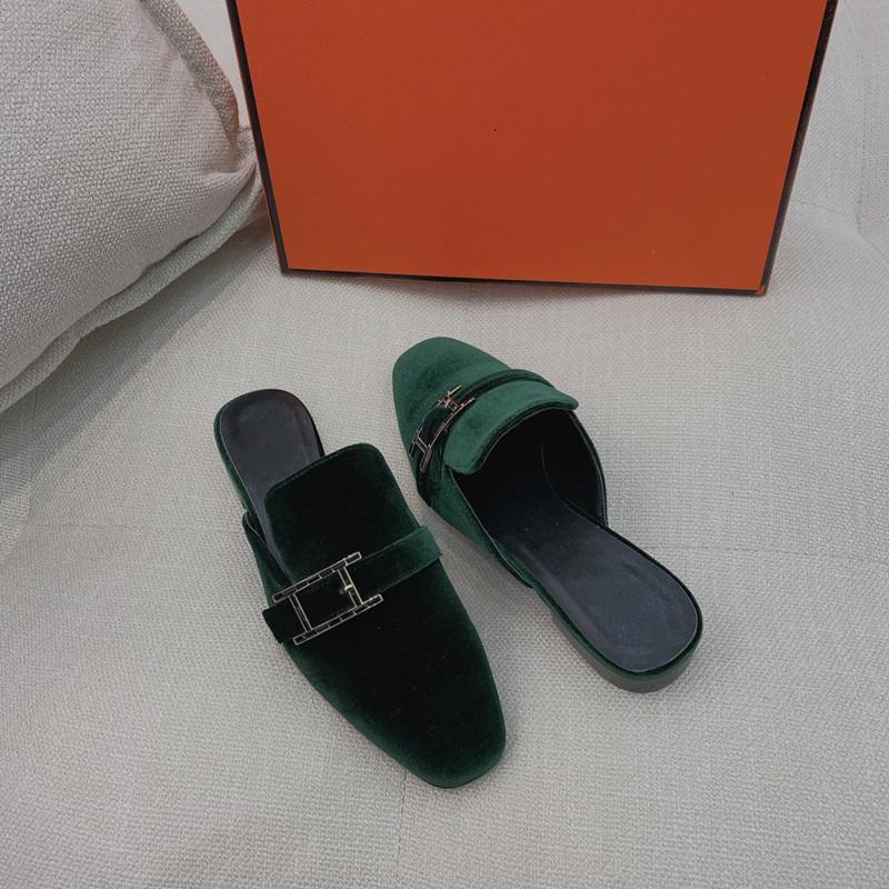 Moda Yeni Sürüm H Rhinestone Toka Muller Ayakkabı Bayanlar Baotou Yarım Terlik Kadife Deri Zarif Mizaç Sandalet