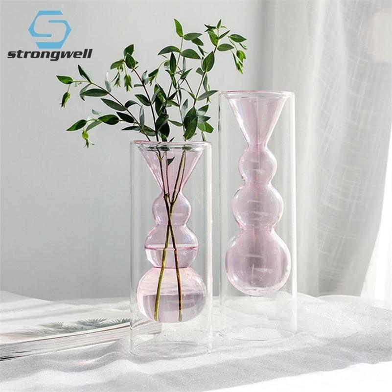 Shistwell Ins Nordic двойной слой стеклянный ваза тестовые трубки цветочные вазы владелец установки ремесло дома офис свадебные украшения подарок LJ201209