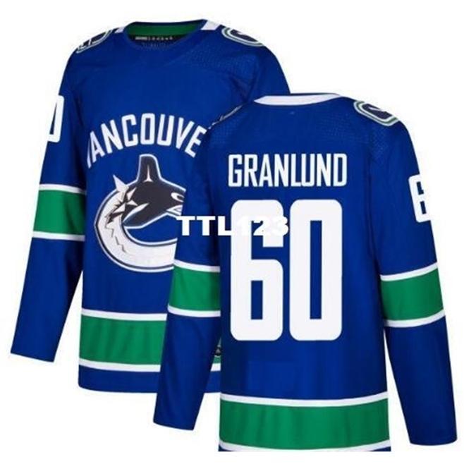 Real 888 Реальная полная вышивка 2017-2018 сезон Vancouver Canucks # 60 Маркус Гранлунд Джерси или пользовательское имя или номер хоккея
