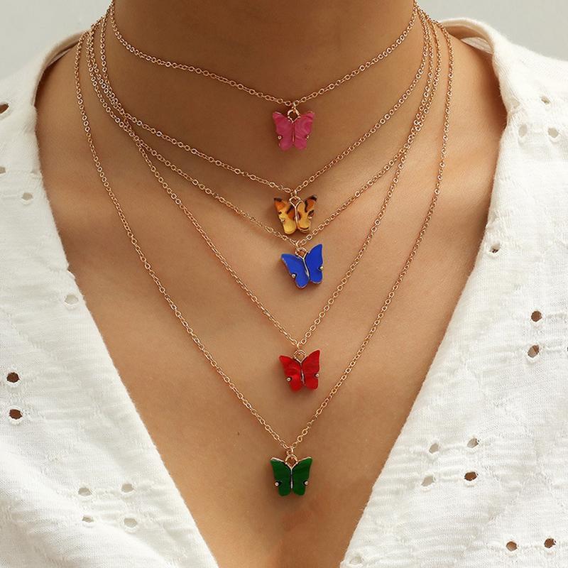 5pcs / set Netter Schmetterling Halskette Frauen-Mädchen-Schmetterlings-Ketten-Halskette Modeschmuck Accessoires für Geschenk-Partei