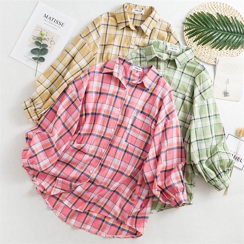 Chemisier de bureau Chemise à carreaux Chemise à carreaux coréens Manches longues Turn Collier Coton Fashion Casual Top Top Overdized Loose Vêtements 201201
