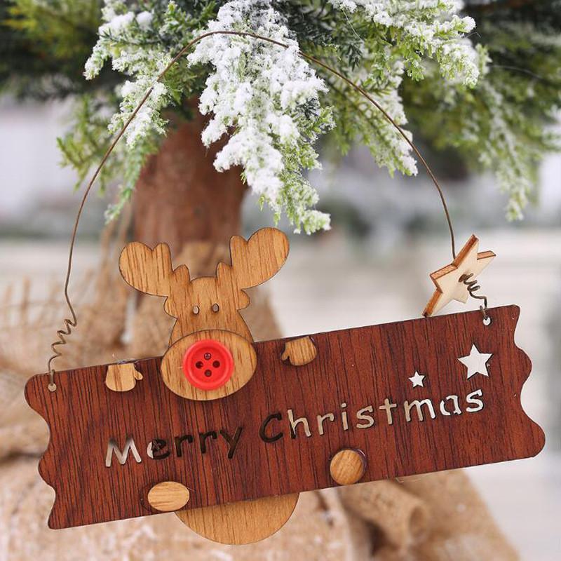 Noel Ahşap Openwork Harf Elk kolye Süsleme Noel Ağacı Asma süslemeler Ahşap Hediyelik HHB2336