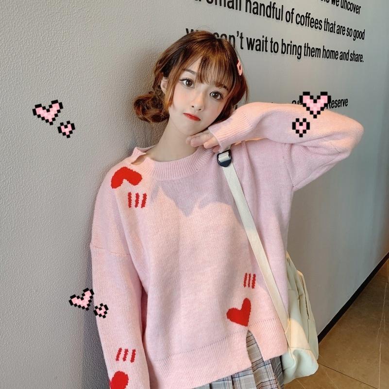Tatlı Örme Kazak Baskı Gevşek Tam Kadın Giyim Kore Tarzı İlkbahar ve Sonbahar Yüksek Kaliteli Kazak Mizaç