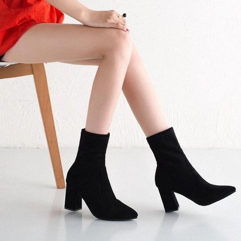 Black marrom rebanho grosso salto tornozelo botas mulheres sapatos de inverno agradável elegante salto alto pontudo aguçado toe manter mornos suportes curtos senhoras # 610e