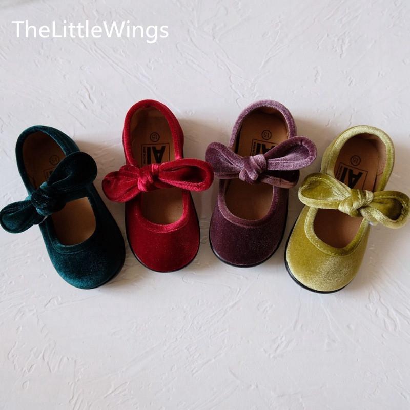 printemps 2020 pour les enfants et à l'automne nouveau velours coréenne mignonne bowknot filles détachables chaussures 1-8 ans