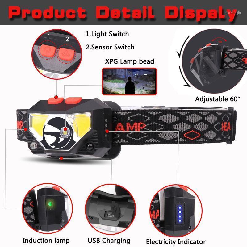 6500LMMs Phare de phare à LED puissant rechargeable avec capteur de mouvement USB Capteur de camping Lampadaire1
