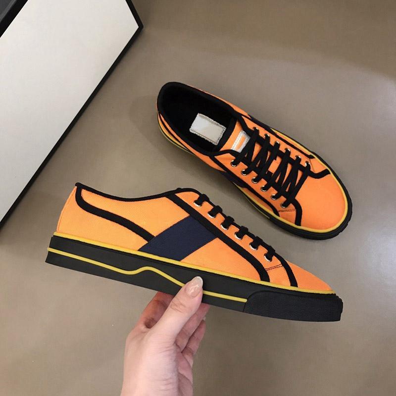 Erkekler Kadınlar 1977 Tenis Düşük Sneakers Moda Rahat Ayakkabılar Erkek Tuval Sneaker Üçlü Siyah Turuncu Deri Mesh Eğlence Eğitmen Boyutu 36-45