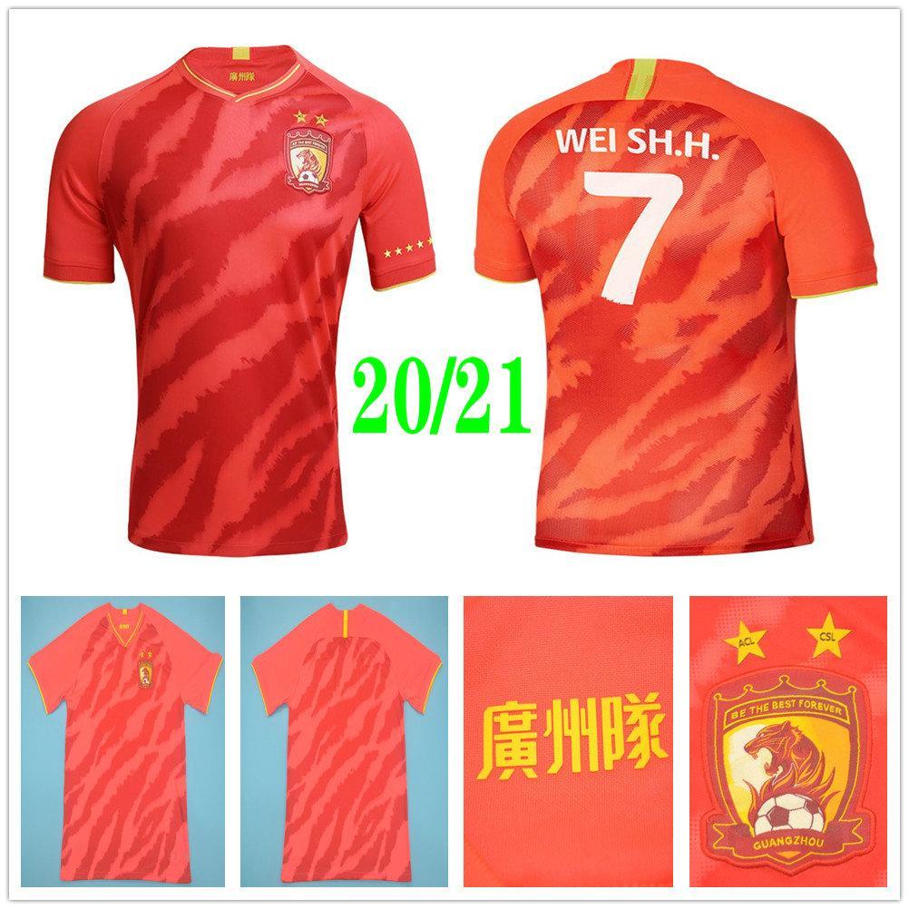 2020 2021 Guangzhou Evergrande Soccer Jerseys PAULINHO A.TALISCA ZHENG ZH. GOULART ALAN ELKESON Custom 20 21 Home Red Hengda Football Shirt
