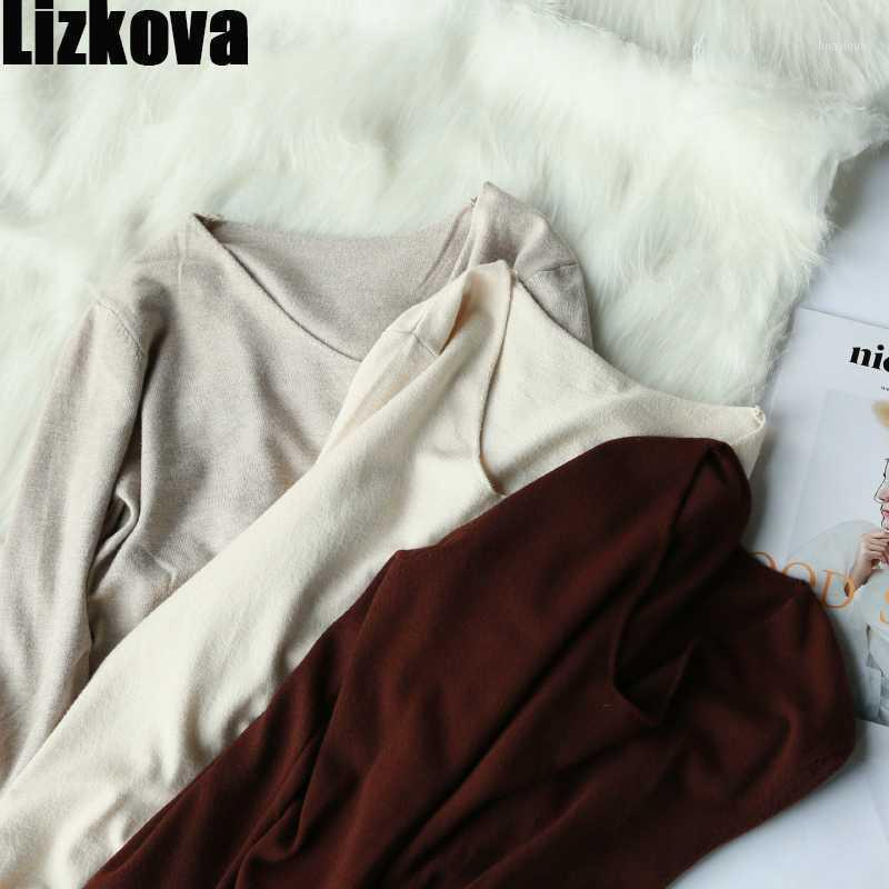 Lizkova Thin V-neck Knitted Pullover Women Autumn Long Sleeve Loose Sweater 2020 Soft Casual Tops1