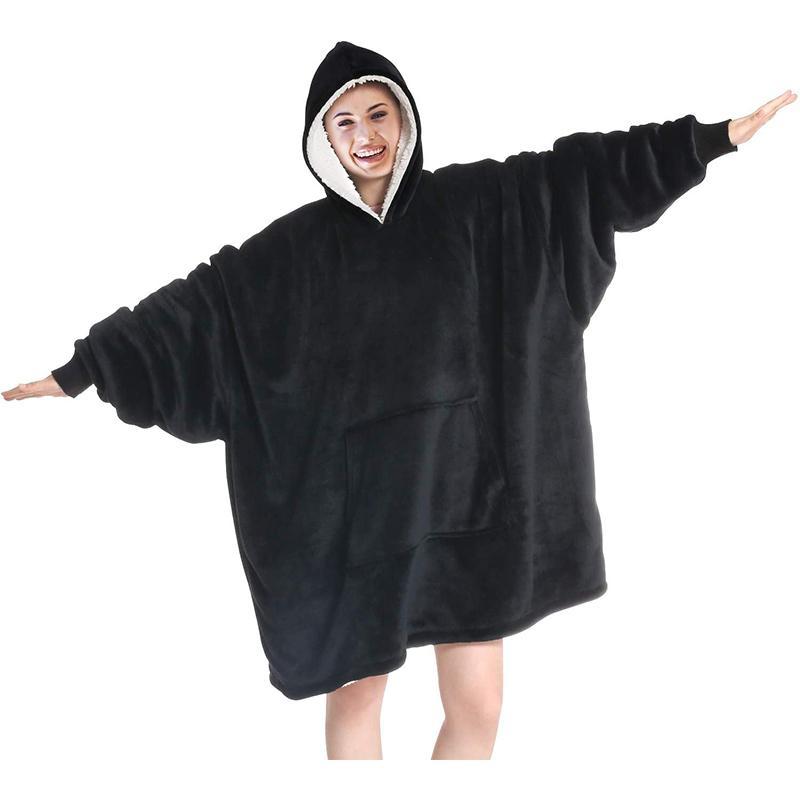 المتضخم هوديس المرأة منقوش غطاء لبس قلنسوة غطاء مع الأكمام الشتاء مقنع بلوزات شيربا بطانيات 201112