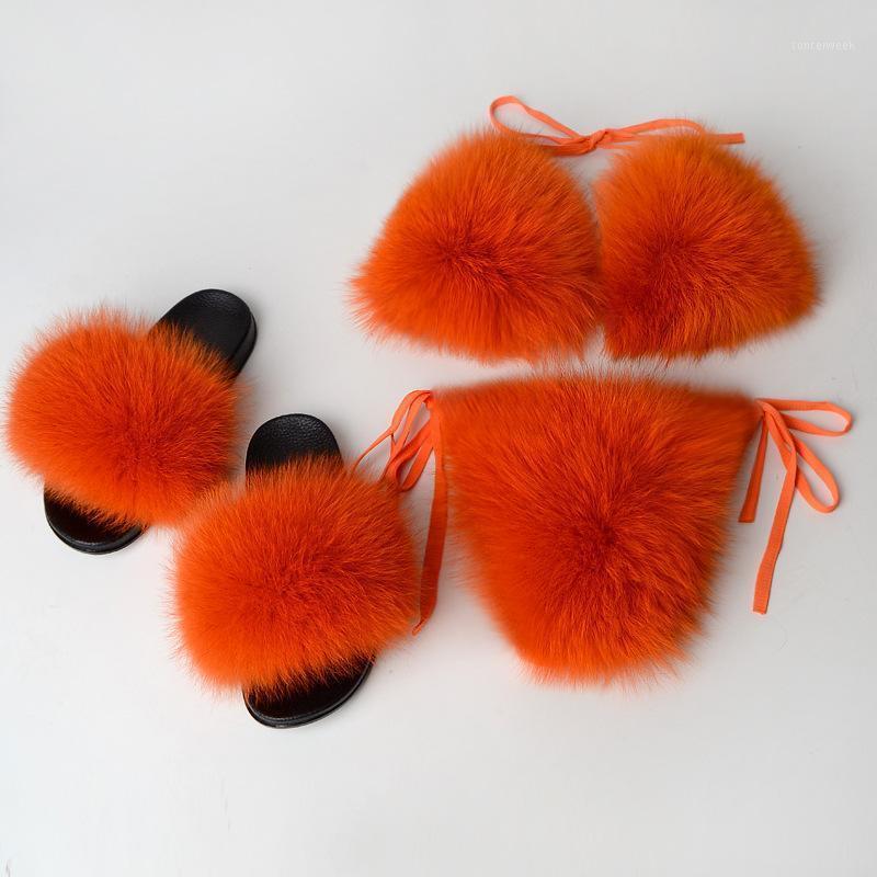 Fashion Real Fur Slides Bra Sexy Lined For Girl Women Swimwear Slippers Beachwear Bathing Suit Bikini shoes Set fuzzy slides1