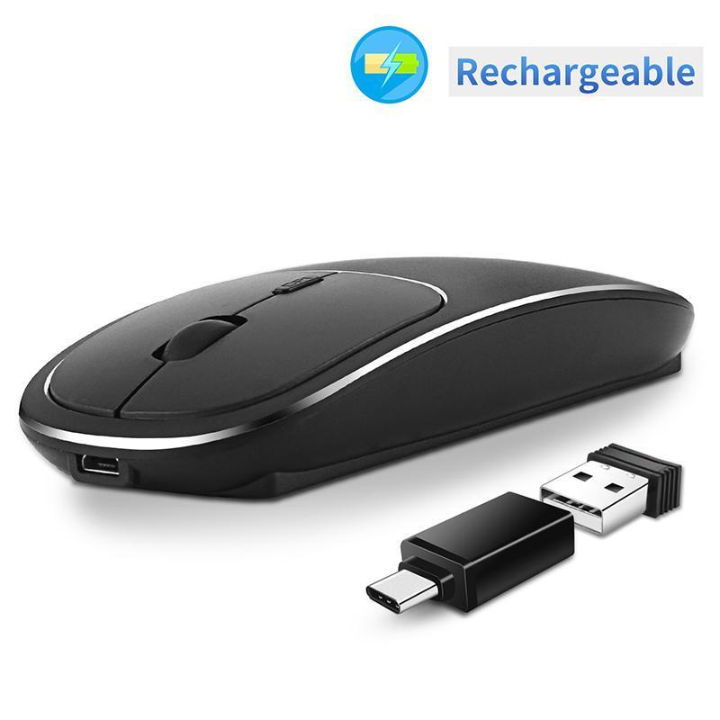 Беспроводная мышь 4 кнопки 1600DPI 2.4G Оптическая USB / тип C Тихая мышь Эргономичный Мыши Беспроводные для портативных ПК Компьютер