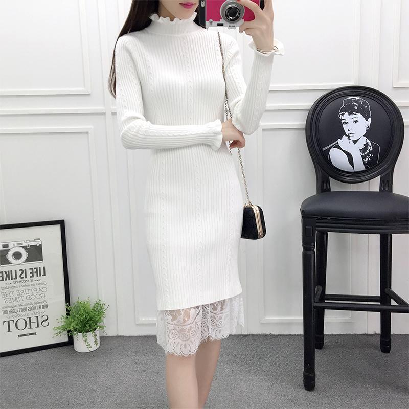 Новая зимняя женская мода термальные вязаные оборками водолазки кружева колена свитер платье женское платье дамы стройное одевание Bodycon Dress Dress T200526