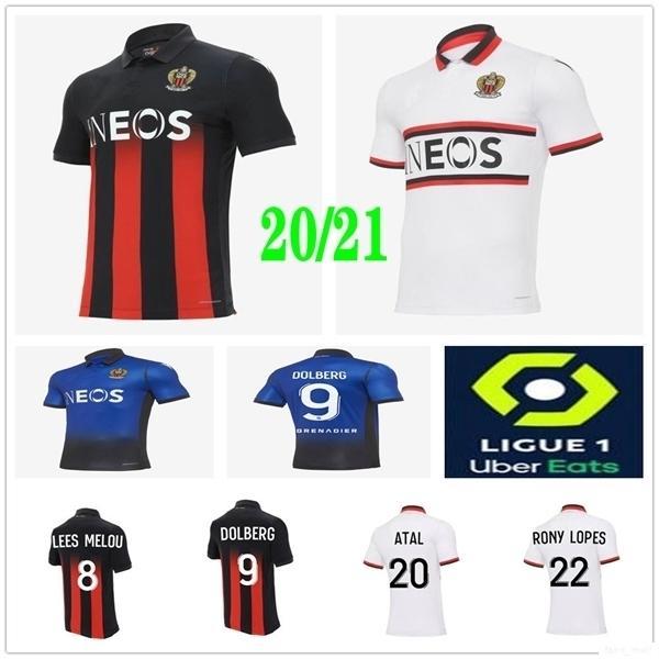 2020 Nouvelle OGC Nice Soccer Jerseys 9 DOLBERG 20 Atal 8 LIES MELOU CYPRIEN RONY LOPES CLAUDE MAURICE personnalisée 20 21 Domicile Extérieur Football shirt