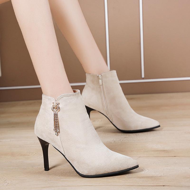 Frauen Winter High Heel Boots Damen Mode Knöchelspitze Zehe Schuhe Elegent Tessel Kurzstiefel Casual Botas Damen Solide Booties