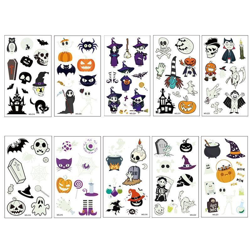 NEW 12x7cm Halloween luminous tattoo stickers for children