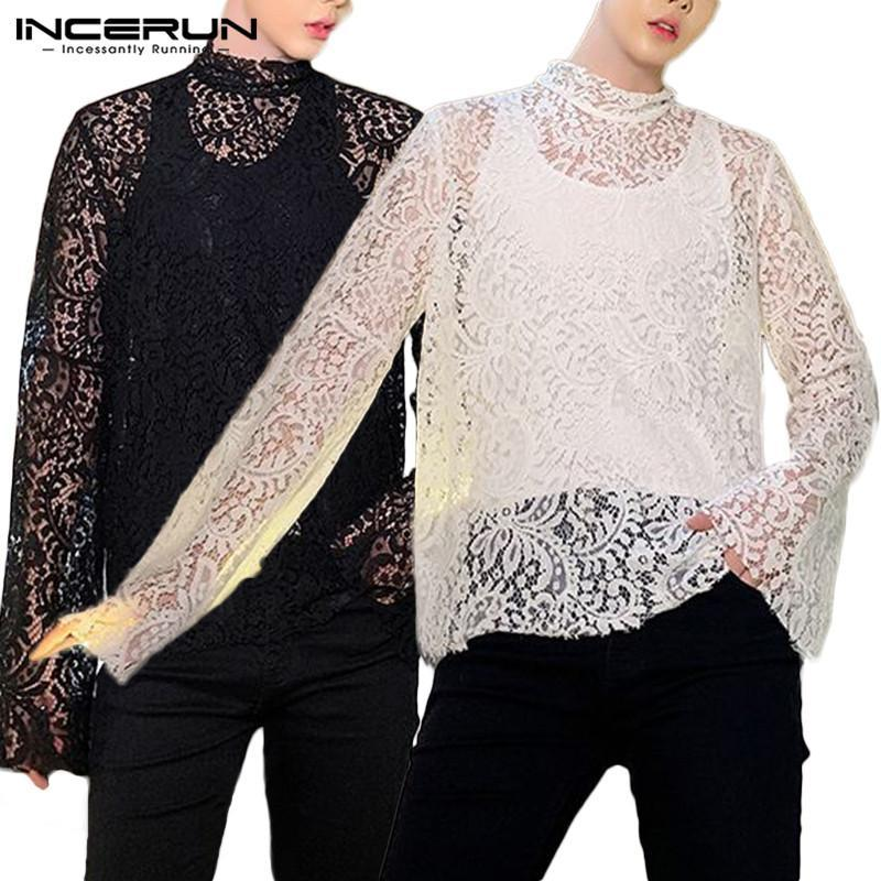 Camicie casual da uomo Incerun Men Sets Fashion Lace Shirt in pizzo Due pezzi Top Manica lunga See-through Hollow Out Party Clubwear Maglia S-5XL