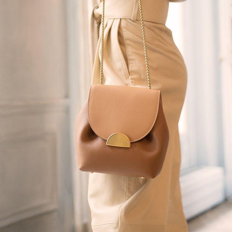 ValenKuci Women Leather Retro Lady France Famous Brand Crossbody Bag Elegant Luxury Designer Bucket Bags Chain Handbags Q1107