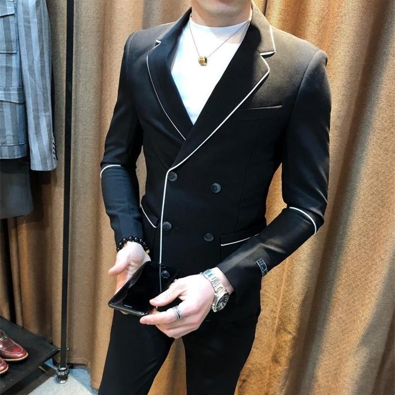 Contraste Piping Preto Mens Blazer branco High Fashion Abotoamento Blazer Jacket Men coreano Slim Fit Elegante Blazer Hombre 201104