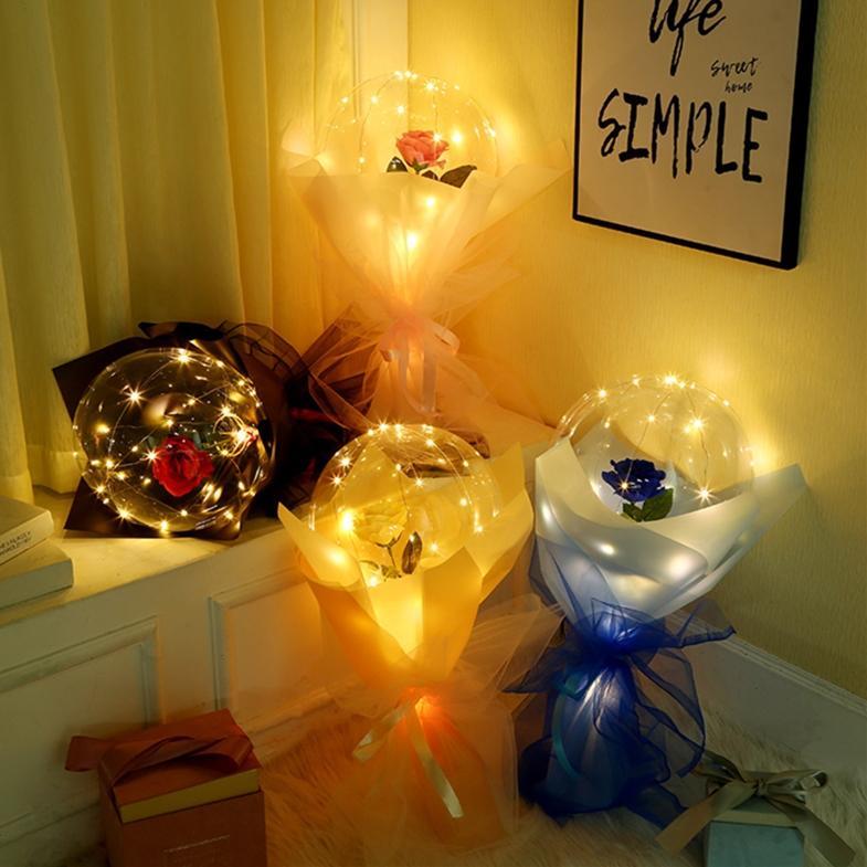 LED 가벼운 빛나는 풍선 장미 꽃다발 투명 거품 장미 보보 공 발렌타인 데이 생일 결혼식 장식 선물 장난감 E121802