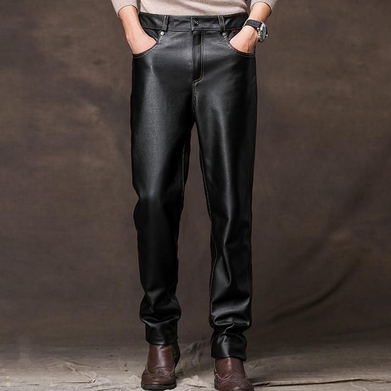 Pantaloni da uomo in vera pelle Uomo 100% uomo cowidide uomo casual pantaloni uomo autunno inverno moda 2021 Pantalon cuir homme PPH2630