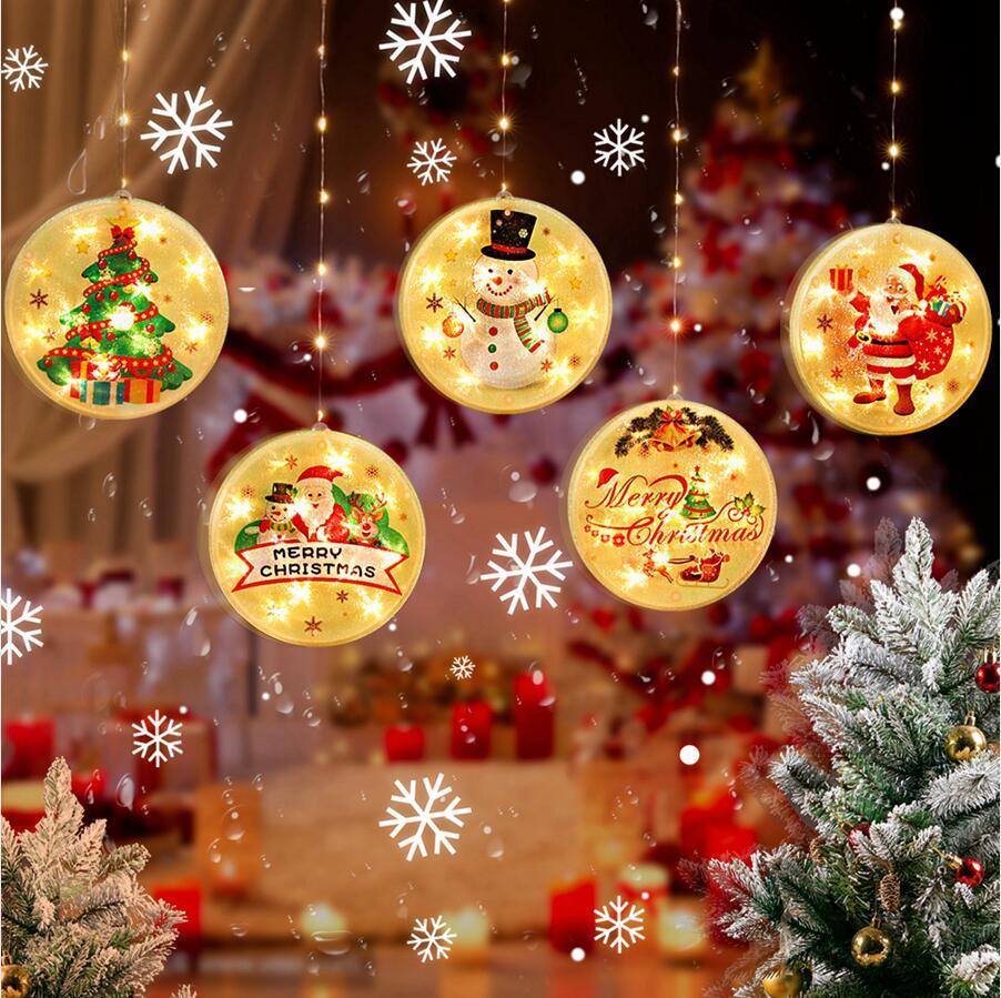 Pendentif de Noël LED Light String 1.5 * 0,65 m rond Joyeux Fenêtre arbre de Noël suspendu lumières éclairées String Xmas Décoration LJJP739
