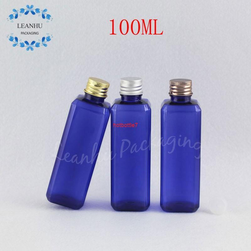 100 мл голубая пластиковая бутылка алюминиевая крышка, 100cc пустой косметический контейнер тонер / лосьонная упаковка (50 шт. / Лот) Высокое состояние
